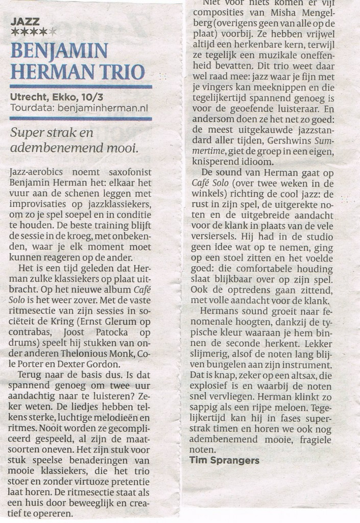 Benjamin Herman recensie Jazz in Serah